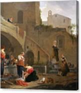 Washerwomen By A Roman Fountain Canvas Print