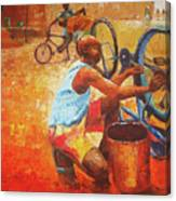 Washing My Bike Canvas Print