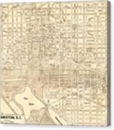 Washington Dc Antique Vintage City Map Canvas Print