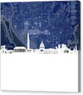 Washington Dc Skyline Map 4 Canvas Print