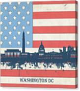 Washington Dc Skyline Usa Flag 3 Canvas Print