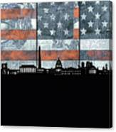 Washington Dc Skyline Usa Flag Canvas Print