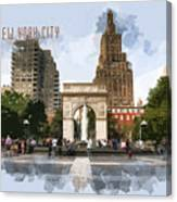 Washington Square Park Greenwich Village With Text New York City Canvas Print