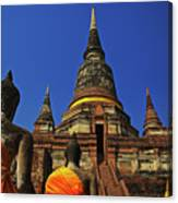 Wat Yai Chai Mongkol In Ayutthaya, Thailand Canvas Print