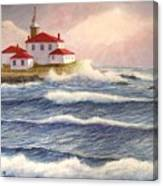Watch Hill Lighthouse In Breaking Sun Canvas Print