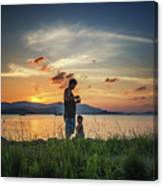 Watching Sunset With Daddy Canvas Print