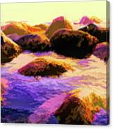 Water Color Like Rocks In Ocean At Sunset Canvas Print