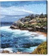 Water Cove With Rocky Cliffs Canvas Print