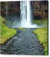 Water Falling In Iceland Canvas Print