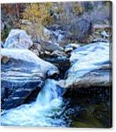 Water Flowing Through Rock Formation In Sabino Canyon II Canvas Print