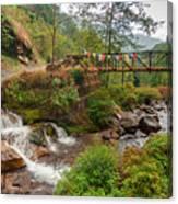 Water Flowing Through Rocks Kukhola Falls Sikkim Canvas Print