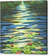 Water Lillies At Dusk Canvas Print