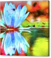 Water Lily And Bee Pastel Canvas Print