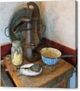 Water Pump In Kitchen Canvas Print