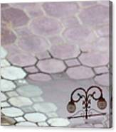 Water Reflection Of Garden Lamps At The Akshardham Temple, Jaipur  Canvas Print