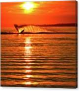Water Skiing At Sunrise  Canvas Print