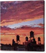 Water Towers At Sunset No. 4 Canvas Print