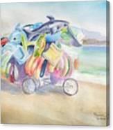 Water Toy Vendor On Teh Beaches Of Santiago Bay, Manzanillo Canvas Print