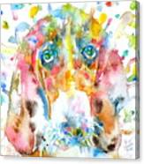 Watercolor Basset Hound Canvas Print