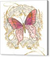 Watercolor Butterfly With Vintage Swirl Scroll Flourishes Canvas Print