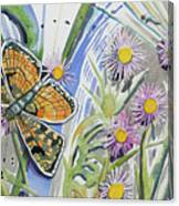 Watercolor - Checkerspot Butterfly With Wildflowers Canvas Print