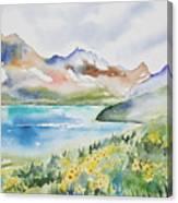 Watercolor - Colorado Alpine Landscape Canvas Print