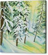 Watercolor - Colorado Winter Tranquility Canvas Print