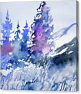 Watercolor - Colorado Winter Wonderland Canvas Print