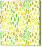 Watercolor Doodle Leaves Pattern White  Canvas Print