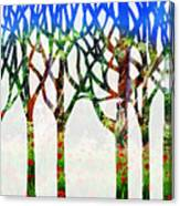 Watercolor Forest Silhouette Summer Canvas Print