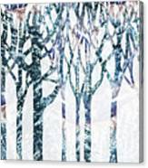 Watercolor Forest Silhouette Winter Canvas Print