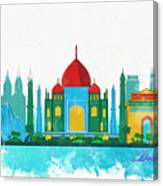 Watercolor Illustration Of Delhi Canvas Print