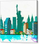 Watercolor Illustration Of New York Canvas Print