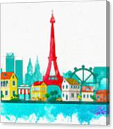 Watercolor Illustration Of Paris Canvas Print