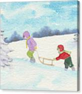 Watercolor Illustration Showing Two Children Pulling Sledge Uphi Canvas Print