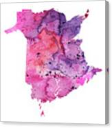Watercolor Map Of New Brunswick, Canada In Pink And Purple  Canvas Print