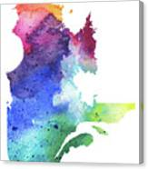 Watercolor Map Of Quebec, Canada In Rainbow Colors  Canvas Print
