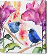 Watercolor - Masked Flowerpiercers With Flowers Canvas Print