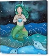 Watercolor Mermaid Feeding Her Narwhals Canvas Print