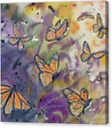 Watercolor- Monarchs In Flight Canvas Print