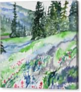 Watercolor - Mountain Pines And Indian Paintbrush Canvas Print
