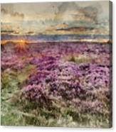 Watercolor Painting Of Beautiful Dawn Sunrise Landscape Image Of Heather On Higger Tor In Summer In  Canvas Print