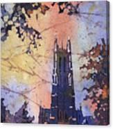 Watercolor Painting Of Duke Chapel On The Duke University Campus Canvas Print