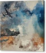 Watercolor Painting Of Flight Formation Of Battle Of Britain World War Two Consisting Of Lancaster B Canvas Print