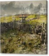 Watercolor Painting Of Public Footpath Signposts In Landscape In Canvas Print