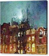 Watercolor Painting Of Spooky Houses At Night Canvas Print