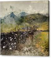Watercolor Painting Of Stunning Landscape Of Chrome Hill And Parkhouse Hill Dragon's Back In Peak Di Canvas Print