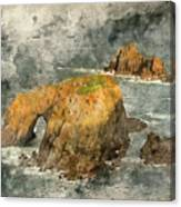 Watercolor Painting Of Stunning Sunrise Landscape Of Land's End In Cornwall England Canvas Print