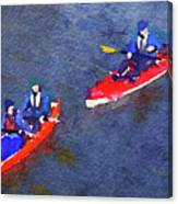 Watercolor Painting Of Two Canoes Canvas Print