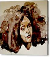 Watercolor Portrait Of A Woman With Bad Hair Day Canvas Print